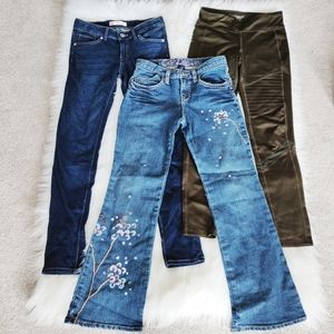 Girls Levi's and Gap jeans and Old Navy leggings